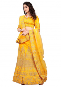 Yellow Colour Party Wear Malay satin Stone work Lehenga Choli LC 293