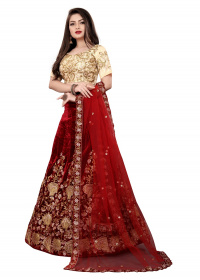 Maroon Colored Partywear Embroidered Velvet Lehenga Choli LC 294