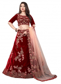 Maroon Colored Partywear Embroidered Velvet Lehenga Choli LC 296