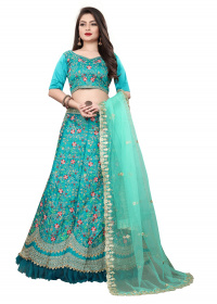 Aqua Blue Designer Embroidered Malay satin  Lehenga Choli LC 299