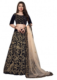 Navy Blue Designer Partywear Embroidered Velvet Lehenga Choli LC 300