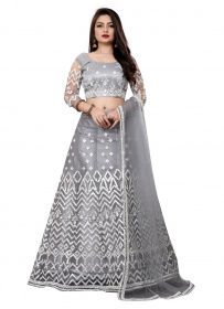 Grey Colored Partywear Designer Embroidered Silk Lehenga Choli LC 316