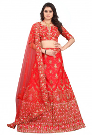 Red Partywear Designer Embroidered Malay Satin Lehenga Choli LC 317