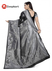 ZK Black Colour Soft Silk Saree