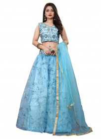 Sky Blue Colored Partywear  Embroidered Net silk Lehenga Choli LC 322