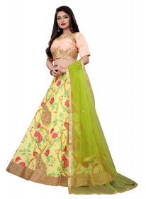Yellow Colored Partywear Embroidered Net silk Lehenga Choli LC 324