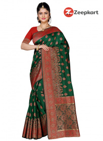 ZK Zeri Green & Red Nakshi Work Colour Soft Silk Saree