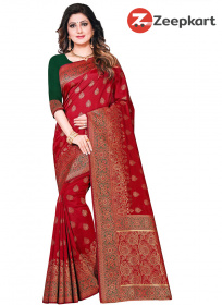 ZK Red Nakshi Work Colour Soft Silk Saree