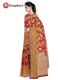 ZK Red & gold  Colour Lichi Silk Saree