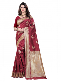 ZK maroon chand Colour Woven Silk Saree