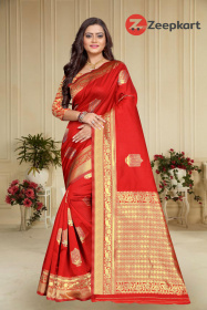 ZK red Zoomer Colour Lichi Silk Saree