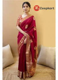 ZK red zoomer Colour Soft Silk Saree