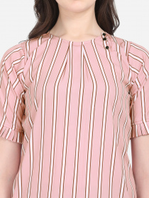 ZK THANKAR Pink White Lining Crepe Top