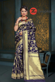 ZK N.Blue Colour Woven Silk Saree
