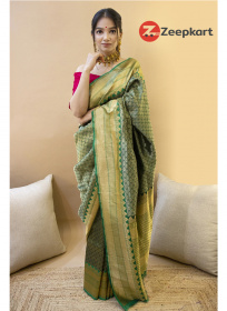ZK Green Rani Colour Soft Silk Saree