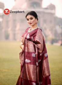 ZK Wine Colour Soft Silk Saree