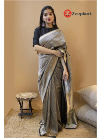 ZK Black Zikzek Colour Soft Silk Saree