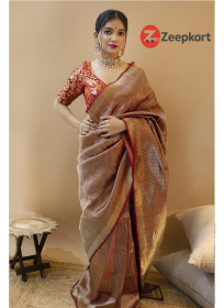 ZK Red Zikzek Colour Soft Silk Saree