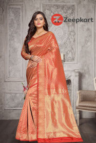 ZK Red Zikzek Colour Woven Silk Saree