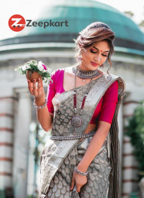 ZK Grey Rani Colour Soft Silk Saree