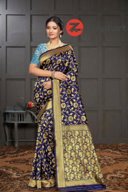 ZK N.Blue Firozi Colour Woven Silk Saree