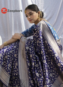 ZK N.Blue Firozi Colour Soft Silk Saree