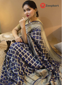ZK Bandhani N.Blue Colour Soft Silk Saree