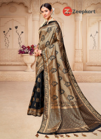 ZK Black Colour Woven Silk Saree