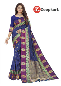 ZK Blue Soft Silk Saree