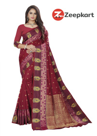 ZK Maroon Soft Silk Saree